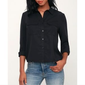 NWT lulus Lucille Button Down Shirt Black Medium